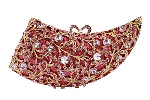 Yilongsheng Frauen glänzende Horn geformte Perlen Hochzeit Taschen mit schillernden Kristall Rosa