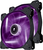 Corsair SP140 LED Ventilateur de Boitier, 140mm, Violet LED (Dual Pack)