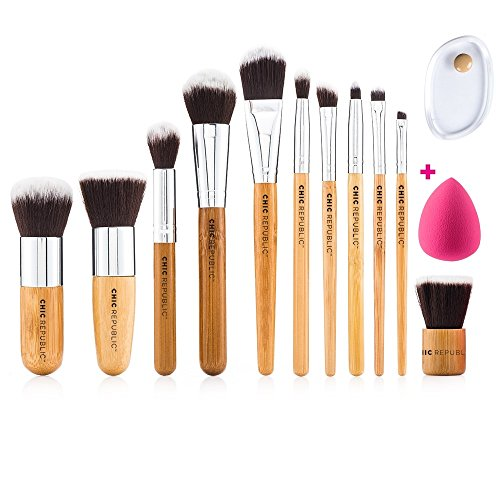 Bamboo Makeup Brushes - 11 Piece Set with Premium Synthetic Hair and Natural Bamboo Handles for Face Cheeks and Eyes, BONUS Complexion Beauty Makeup Sponge Blender!