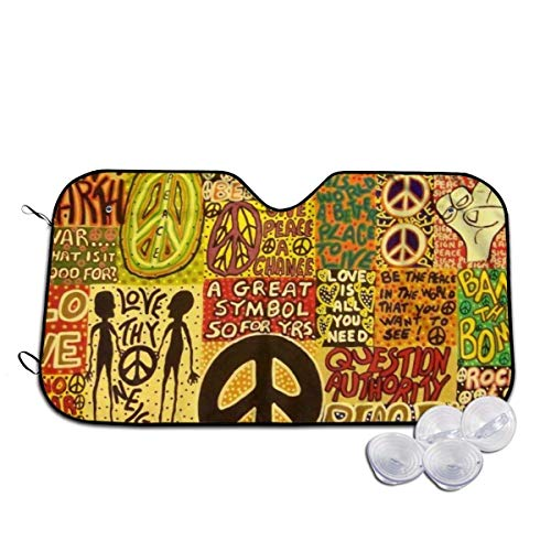 Bellaer Auto-Sonnenschutz, Peace Rocks Love Not War Hippie UV Protect Foldable Durable Windshield Sun Shades Sunshade Universal Fit for Car Auto Sedan Truck SUV Sun Visor Vehicle Accessory -