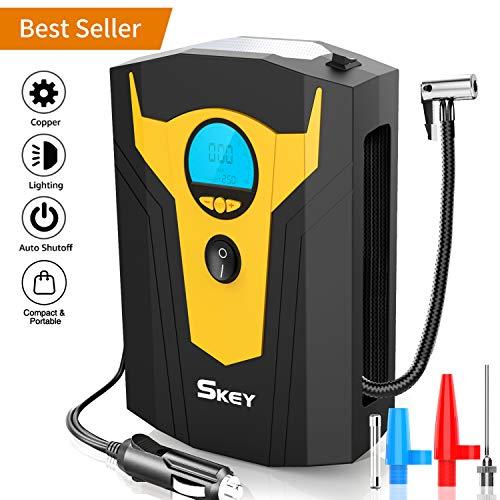 SKEY Compresseur d'air Portatif 12V Gonfleur Electrique Compresseur Air Numérique avec Lampe LED 150PSI