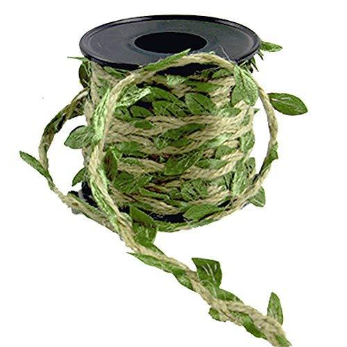 WOOKUS 167 m Natürliche Jute-Schnur 5 mm Jute-Band mit künstlichen Weinranken grünen Blättern für Hochzeit Zuhause Garten -
