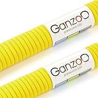 Ganzoo - Cuerdas multifuncionales de nailon de gran resistencia fabricadas a partir de cuerda de paracaídas Paracord 550, soportan hasta 250 kg, longitud total: 62 m, color amarillo, 2 unidades, (no aptas para montañismo)
