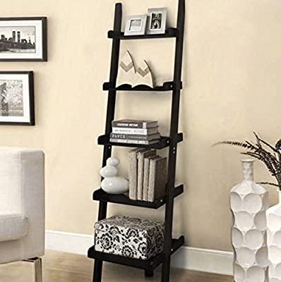 5 Tiers Wooden Wall Lean Ladder Storage Shelves - Black - cheap UK light store.