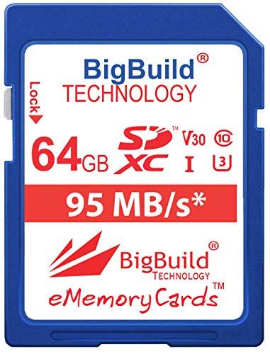 BigBuild Technology 64GB UHS-I U3 95MB/s Speicherkarte für Canon PowerShot SX420 is, SX430 is, SX520 HS, SX530 HS, SX540 HS, SX60 HS, SX610 HS, SX620 HS, SX710 HS, SX720 HS, SX730 HS, SX740 HS Kamera
