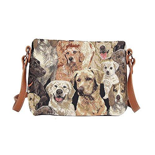 Bolso tapiz de hombro de moda Signare para mujer bolso de mano en bandolera bolso messenger animal (Labrador)