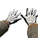 HLHN Schädel Handschuhe, Halloween Schrecklich Knochen Skelett Goth Rennen Full Finger Outdoor Sport Winter Warme Handschuhe (Schwarz B)