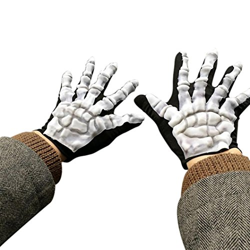Handschuhe Krallen Mit Motorrad (HLHN Schädel Handschuhe, Halloween Schrecklich Knochen Skelett Goth Rennen Full Finger Outdoor Sport Winter Warme Handschuhe (Schwarz)