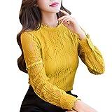 Hmeng Frauen Floral Lace Langarm Gestreiften Shirts OL Arbeitskleidung V-Ausschnitt Blusen Tops Plus Größe (Gelb, 3XL)