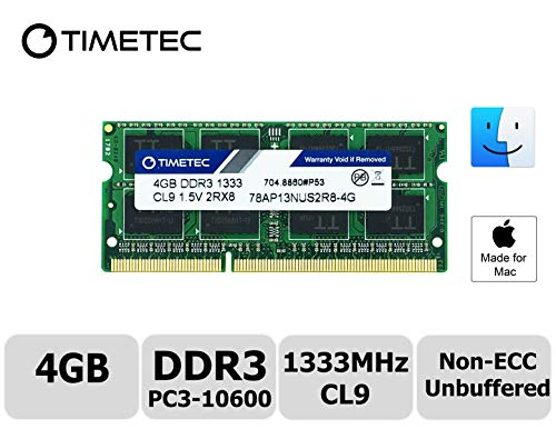 Timetec Hynix IC compatible with Apple 4GB DDR3 1333MHz PC3-10600 SODIMM Memory Upgrade For Mac 4GB -