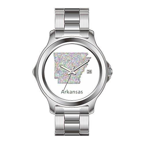 FDC Weihnachten Geschenk Uhren Damen Fashion Japanisches Quarz-Datum Edelstahl Armband Armbanduhr Arkansas Karte Armbanduhren -