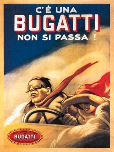 Bugatti, Coche Clásico, Vintage Taller Del Garaje, Automovilismo, Antigua Art Decó, Italiano Metal/Cartel De Acero Para Pared - 30 x 40 cm