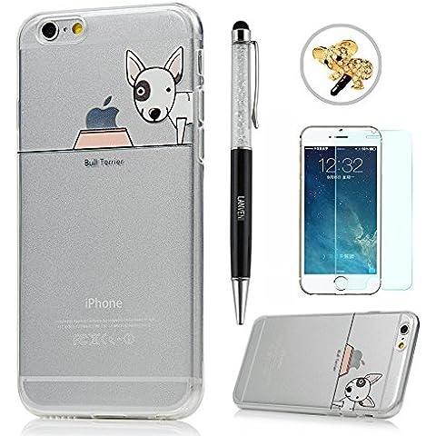 iPhone 6/6S Funda - Lanveni® Chic Carcasa Suave TPU Gel Silicona ultra Slim para iPhone 6/6S 4.7 pulgadas Transparente Case - Patrón perro Diseño 2 + lápiz capacitivo + Enchufe anti del polvo + Protector de