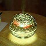 Projektor Licht Befeuchter,gaddrt USB bunt LED-Projektorlicht Luftbefeuchter Kristall Projektionslampe Nachtlampe (Gold)