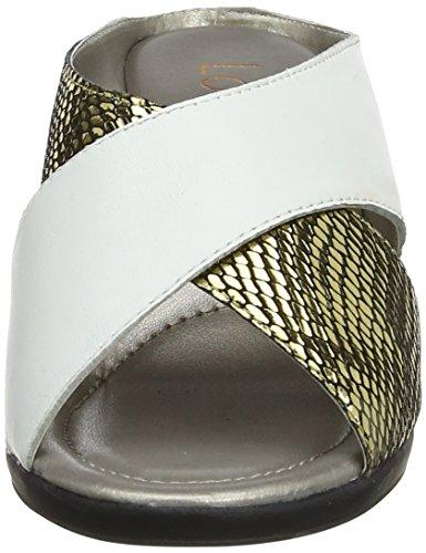 Lotus Trino, Mules Femme Blanc (White Leather/Platino Snake)