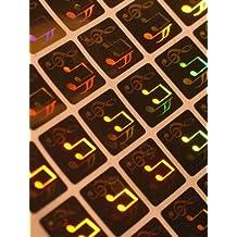 500 Stück Hologramm 3D Noten, 15x15mm, Garantiesiegel, Sicherheitsetikett von LabelOcean (R), Hologramm-Aufkleber LO-HS1100b-500
