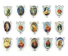Idea Regalo - 30Pcs mix croce Gesù immagine smalto Madonna miracolosa medaglia floreale rosario centrotavola in lega crocifisso croce pendente charms