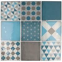 Artemio 9hojas mosaico azul autoadhesivo, multicolor, 9cuadros de 8x 8cm