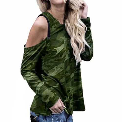 WOCACHI Damen Blusen Frauen weg von der Schulter Grau Camouflage Langarm Bluse Tops T-Shirt (XL/38, (Kostüm Schmuck Camo)