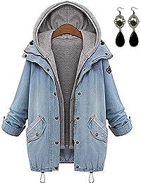 Sitengle Mujeres Abrigo Outwear Blazers Tops Capa Manga Larga Chamarra Doble Demin Capucha Coat Jacket Sportswear