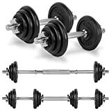 JLL 20kg Cast Iron Dumbbell & Barbell Set 2019, 4x 0.5kg, 4x 1.25kg and 4x 2.5kg weight plates, 4x spin-lock collars, steel connecting bar, hammer tone look, resilient and long lasting training equipment