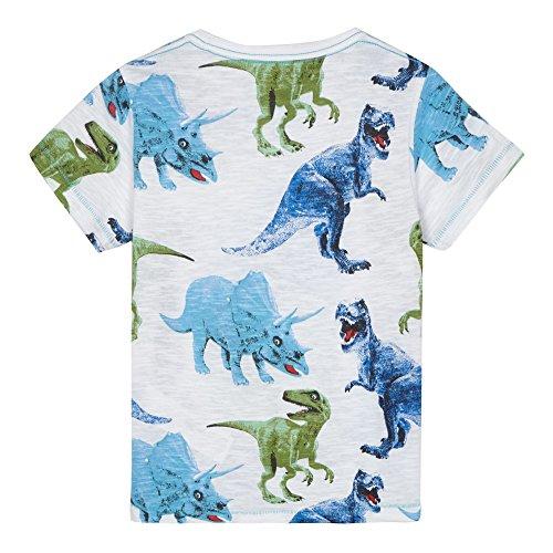 Image of Bluezoo Kids Boys' White Dinosaur Print T-Shirt Age 3-4