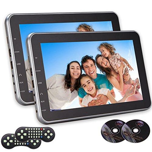 EINCAR Dual Screen 10.1 Zoll Ultra Thin Digital-HD-Monitor Kopfst¨¹TZE Auto-DVD-Multimedia-Player Rear Seat mit Spiel AV-Eingang HDMI-Anschluss FM IR-Sender mit Paaren Fernbedienung Rear-seat-dvd-player