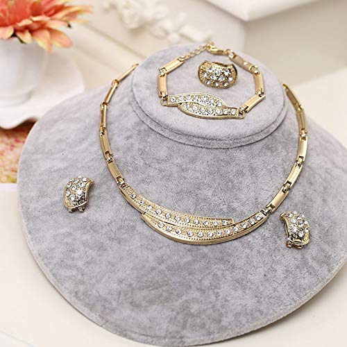 Damen Halskette,Golden Geometrische Pendant Für Frauen Schmuck Dubai Gold Schmuck Set Hochzeit Afrikanische Perlen Crystal Bridal Set Strass Äthiopischen Schmuck Damenmode Party Hochzeit Freundinne