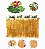 Hawaiian Luau Table Skirt, Xndryan 9ft Grass Table Skirt with 24 Pack Hibiscus