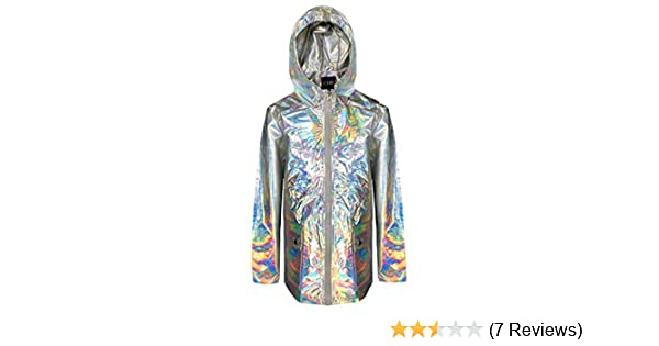 JollyRascals Girls Holographic Iridescent Shiny Silver Raincoat Hooded Jacket Baby Girl Coat Kids New Pink Black Jacket Ages 9 12 18 24 Months 2 3 4 5 6 7 8 9 10 11 12 13 Years