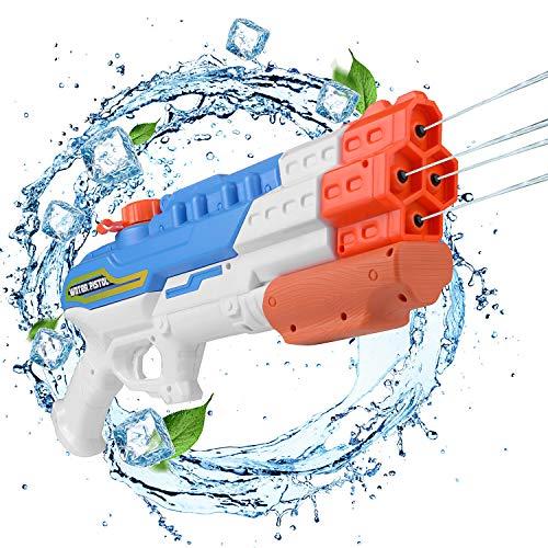 EKKONG Pistolet à Eau, Puissant Jet d'eau d'une portée maximale de 8 à 10 m, pour Les fêtes Estivales en Plein air, Piscine extérieure, Jardin et Plage, capacité 1150 ML (Bleu)