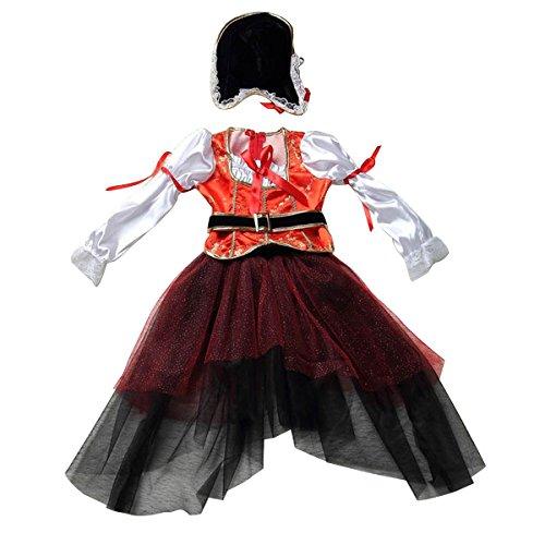 TOOGOO(R) Kinder Halloween Kostuem, Tanzkleid, Cosplay, Pirat, Kinderbekleidung (Kostüme Piraten Make Up)