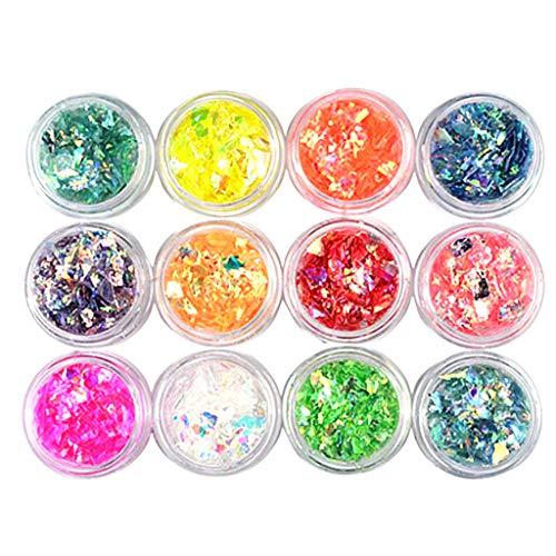 B Blesiya 12 Boxen Glitzer-Staub Nail Art Glitter Pailletten Aufkleber für Make-up und Nagelkunst Festival Glitter Puder Nail art Gesicht ()