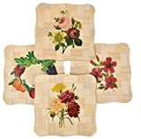 #10: Yellow Weaves™ 4 Piece Wooden Coasters or Pan Pot Holder Heat Insulation Pad (15X15 Cm) - Brown (Assorted Prints)