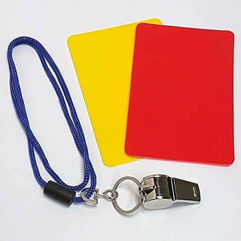 3 tlg. Kinder Schiedsrichter Set Triller Pfeife Gelbe Rote Karte Fußball Sport