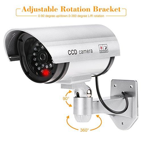 Kkmoon simulazione telecamera falso manichino pistola bullet camera impermeabile cctv sistema di sicurezza con led luce per interno esterno uso
