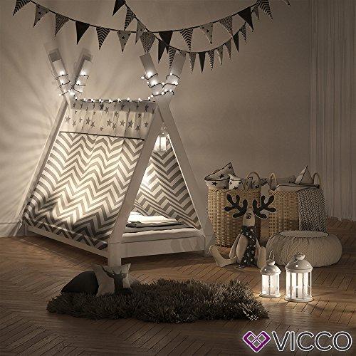 Vicco Kinderbett TIPI Kinderhaus Indianer Zelt Bett Kinder Holz Haus Schlafen Spielbett Hausbett 80x160 (Weiß) - 4