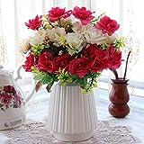 Ywqwdae Artificial Flowers Continental? Die Schlafzimmer sind mit Einem Brautstrauß dekoriert, Einer roten und weißen roséweißen Porzellanvase (Farbe : Wie Gezeigt, Größe : Einheitsgröße)