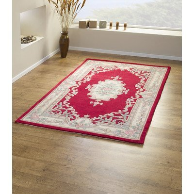 Traditional Rugs Lotus Premium Aubusson Rot Moderner Teppich/Läufer Größe: 240 cm x 150 cm (7 ft 10.5 in X 4 Ft 11 in) -