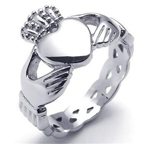Blisfille Ring Silber Schlicht Ringe Edelstahl Herren Herren Punk Silber Weben Form Hand Mit Krone Herz Ring Größe 67 (21.3) Retro Bandring