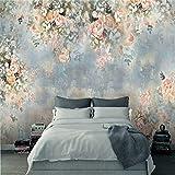 Kuamai Benutzerdefinierte Moderne 3D Foto Tapete Wand 3D Wandbilder Tapete Vintage Nordic Handbemalte Florale Rose Tv Hintergrund Wand Wohnkultur-280X200Cm