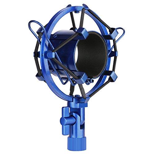 Neewer Mikrofon Shock Mount Halterungs Klammer Anti Vibration Aufhängung Hohe Isolation für Studio Kondensatormikrofon, Ideal für Rundfunkstudio, Synchronaufnahmen (Blau)