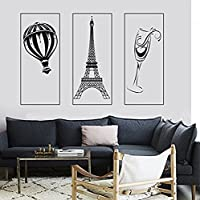 GGWW Wall Mural Paris Eiffel Tower Glass Of Wine Romantic