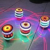 LanLan Boules et Pétanque Enfants LED Light-up Musique Bois-comme Peg-Top Spinner à Main en Plastique Flash Gyro Jouet Cadeau pour Enfants