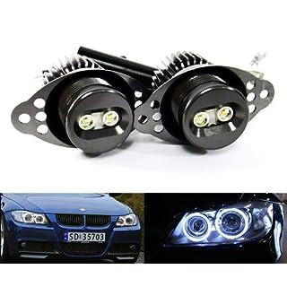 2x RZG White LED Angel Eye Headlight Halo Ring Daytime Light DRL 20W Canbus Bulb For E90 E91 3 Series