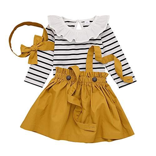 T TALENTBABY Kleinkind Baby Mädchen Kleid Schwarz Weiß Streifen Floral Rüschen Tops Overall + Strapsrock + Stirnband Overall Outfits Kleidung Set, Gelb, 6-12 Monate