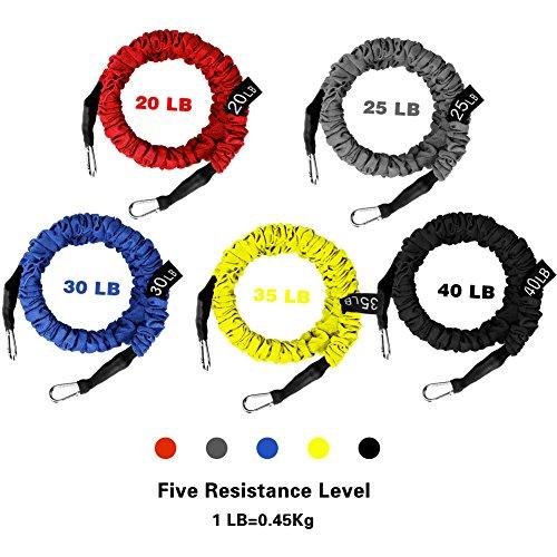 5 Cuerdas Elásticas de Fitness WEINAS® Set de Banda de Resistencia Desmontable con Mango de Espuma  Anclaje para Puerta  Correas de Tobillo  Sistema de Entrenamiento en Suspensión para Ejercicios