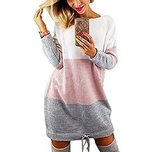 4a098396e3fc Minetom Automne Hiver Femme Pull Robe Col Rond Manche Longue Sweater Mini  Tricot Robe Pullover Blouse