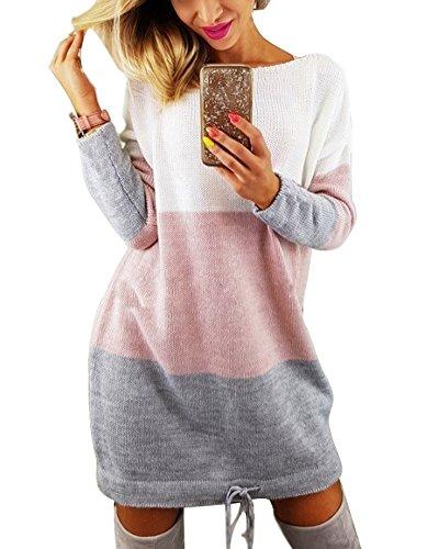 Minetom Automne Hiver Femme Pull Robe Col Rond Manche Longue Sweater Mini Tricot Robe Pullover Blouse Multicolore FR 36