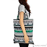 RayLineDo® Eco-Friendly Resuable Large Multi Colour Bohemia Canvas DIY Crafts Carry-All Tote Bag Lunch & Grocery Shopping Bags Beach Bag Handbag 19x16 Inches